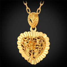 Love Heart Pendant 2015 New Trendy 18K Real Gold Plated Hollow Heart Necklaces & Pendants For Lovers Jewelry