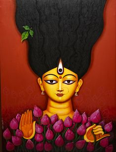 'Ma Moha Maya' - Rajib Deyashi - Acrylic on Canvas - x Durga Maa Paintings, Durga Painting, Indian Art Paintings, Indian Illustration, Illustration Art Drawing, Art Drawings, Illustrations, Goddess Art, Kali Goddess