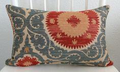Decorative pillow cover Lumbar pillow Suzani by chicdecorpillows Red And Teal, Teal Blue, Aqua, Dark Walls Living Room, Lumbar Pillow, Throw Pillows, Colorful Pillows, Home Decor Fabric, Coordinating Colors