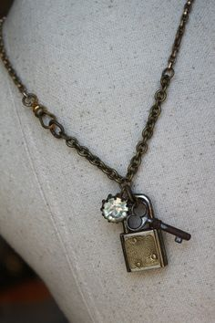 Tarnished Lock and Key Joined for OOAK by trinketstotreasures