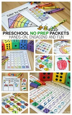 Teach number concepts, colors, shapes, letters, phonics and so much more with the March NO PREP Packet for Preschool!