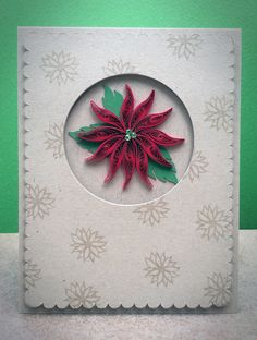 Quilled Poinsettia Christmas Card Set by TealKatCreations on Etsy, $4.25