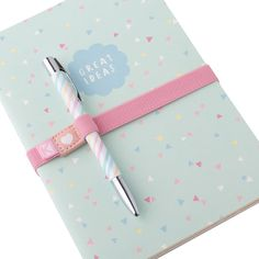 The perfect stationer set - A5 Notebook, Metal Twist Ballpoint Pen and sweet Notebook Elastic.
