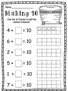 This pirate themed worksheet will help your class consolidate their understanding of making 10 and making 5 using frames.I use this with coins and little treasure chests and my kids love it! Kids Math Worksheets, 1st Grade Worksheets, Math Activities, First Grade Classroom, 1st Grade Math, Math Classroom, Math Literacy, Kindergarten Math, Teaching Math