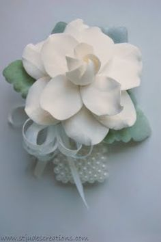 Gardenia wrist corsage for mothers
