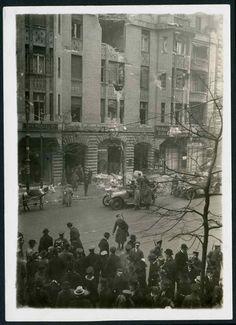 Révolte spartakiste : la façade criblée de balles de l'immeuble du Vorwärts, le journal du SPD, le 11 janvier 1919