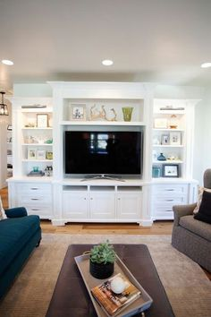 Living room entertainment center ideas home entertainment ce Built In Cabinets, Built In Shelves, Stock Cabinets, Open Shelves, Built In Tv Wall Unit, Built In Tv Cabinet, Basement Built Ins, Tv Built In, Media Cabinets