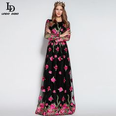 Autumn Winter Runway Maxi Dress Women Elegant Floor Length Voile Flower Embroidery Long Dress $95.03 => Save up to 60% and Free Shipping => Order Now! #fashion #woman #shop #diy http://www.clothesdeals.net/product/ld-linda-della-2016-autumn-winter-runway-maxi-dress-women-elegant-floor-length-voile-flower-embroidery-long-dress