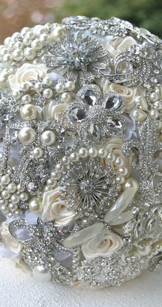 Crystal Wedding Brooch Bouquet. Deposit on made to by annasinclair