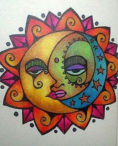 . Sun Moon Stars, Sun And Stars, Sun Drawing, Good Day Sunshine, Sun Designs, Mandala, Sun Art, Hippie Art, Moon Design