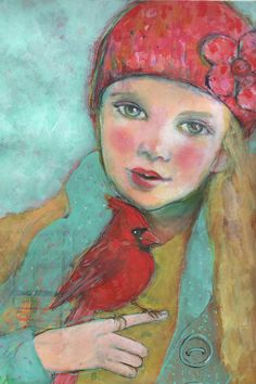 "The Cardinal's Song- 12""x16"" Fine Art Reproduction Block by Maria Pace-Wynters"