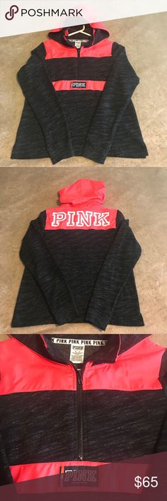 💕Victoria's Secret PINK Anorak Pullover SZ M 💕 VS PINK Pullover in marl black with coral pink anorak material. Wore once. Perfect condition! Super cute just needing to thin out my pullovers. 😊 TV is 65. PINK Victoria's Secret Tops Sweatshirts & Hoodies