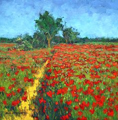 "Poppy Heaven by Kim Stenberg Oil ~ 12"" x 12"""