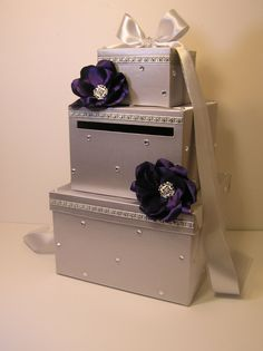 Silver  Wedding Card Box with handmade flowers by bwithustudio, $115.00