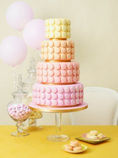 Macaroon cake in your colors.  This is a happy medium between cake and macaroons!