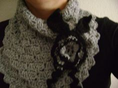 Crochet button scarf.Greyblack cowl.Neck by RiaCrochetCreations