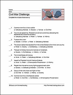 Learn about the Civil War with these free printables, including a Civil War word search, crossword puzzle, vocabulary words, and coloring pages. Social Studies Worksheets, Vocabulary Worksheets, Teaching Social Studies, Vocabulary Words, Student Teaching, 8th Grade History, Middle School History, Civil War Activities, Elementary Bulletin Boards
