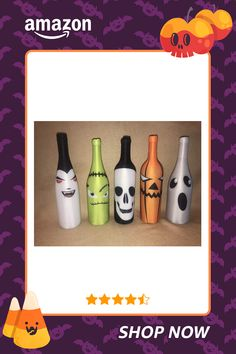 Easy Halloween Decorations, Halloween Party Games, Holidays Halloween, Halloween Pumpkins, Halloween Crafts, Holiday Crafts, Diwali Decorations, Halloween Wine Bottles, Glass Bottle Crafts