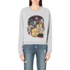 ELEVEN PARIS Star Wars cotton-jersey sweatshirt (€82) ❤ liked on Polyvore featuring tops, hoodies, sweatshirts, grey chine, gray sweatshirt, long sleeve tops, grey sweat shirt, sweatshirt hoodies and embroidered sweatshirts