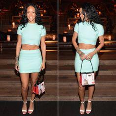 Rihanna wearing Kiko Mizuhara mint green cropped top with scalloped hem and mini skirt, Manolo Blahnik Chaos sandals, Prada handbag.