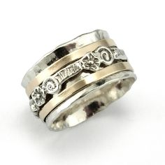 Silver and 14K Gold Spinner Ring