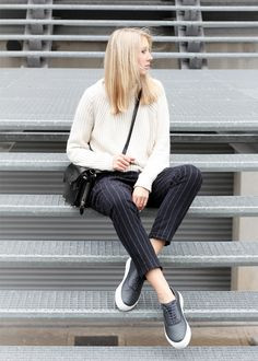 Outfit: pinstripe trousers | Alexander Wang bag | Zara knit |  Eytys sneakers