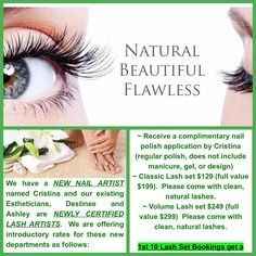 Natural Nail and Lash Extension Promo.  1st 10 Lash Bookings get a complimentary Eminence Organics Skincare Kit.  Call to book today. (702) 816-5996 #lashes #classiclashes #volumelashes #naturalnails #organicmanicure
