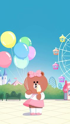 BROWN PIC is where you can find all the character GIFs, pics and free wallpapers of LINE friends. Come and meet Brown, Cony, Choco, Sally and other friends! Lines Wallpaper, Kawaii Wallpaper, Pattern Wallpaper, Iphone Wallpaper, Kakao Friends, Bear Cartoon, Line Friends, Line Illustration, Cute Cartoon Wallpapers