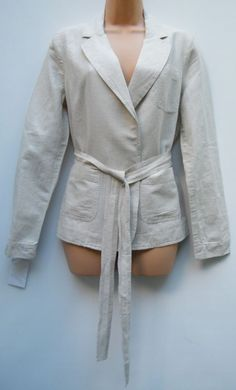 LANDS END WOMENS LINEN REGULAR FIT CASUAL TIE BLAZER SIZE SMALL