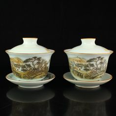 A Pair Chinese Famille Rose Porcelain Teacup