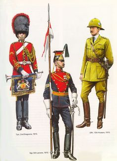 British; 2nd Dragoons, Trumpeter, 5th Lancers, Sergeant & 13th Hussars Officer, 1910