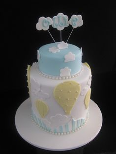 hot air balloon baby shower cake Hot Air Balloon Cake Up And Away Cake on Pinterest since he's a boy we'll switch up the colors!