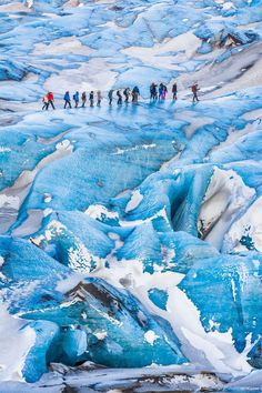 When you travel to Iceland on vacation, you must go see the glaciers. They are huge, beautiful, dramatic, moving, and changing. And perhaps even more important, see them before they are gone due to global warming. You can hike on for example the Sólheimajökull Glacier all year round. The ice is blue in winter.