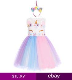 Kids Girls Rainbow Unicorn Tutu Dress for Halloween Cosplay Fancy Costume Party Rainbow Birthday Invitations, Fancy Costumes, Rainbow Unicorn, Halloween Cosplay, Kids Girls, Tutu, Disney Princess, Party, Ebay