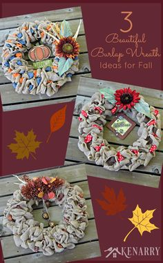 Burlap has become a very popular fabric in home decor these days, especially in seasonal wreaths. Here are 3 ideas to make your own Fall…
