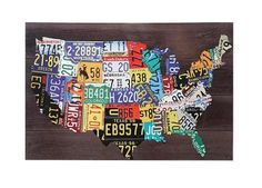 License Plate Map Canvas United States America USA Wall Art Bar Man Cave Sign     $89.00