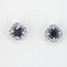 Sapphire and Diamond Halo Earrings by Faini Designs Jewelry Studio in Sioux Falls, SD!