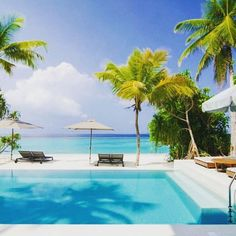 Picturesque beachfront luxury villas with private swimming pool. Pretty design with that turquoise best beach in Maldives, a perfect getaway for honeymoon couple, family with children.  Save it to your design inspiration or favorite places boards if you agree!