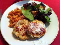Crispy baked eggplant Parmesan, using Sandra Lee's recipe from Food network. Yummy!! Peel skin off! No stove top mess!