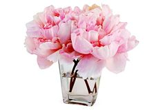 """I like a small touch of pink in a gray bedroom. Especially with the existence of fake water for fake flowers :-). 9"""" Peonies in Tapered Vase, Faux"""