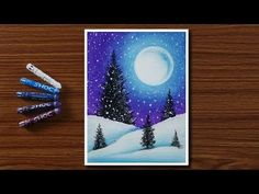 Easy Winter Snowfall Scenery Drawing for Beginners with Oil Pastels – Step by Step – My ideas, my pins 2020 Scenery Paintings, Oil Pastel Paintings, Oil Pastel Art, Easy Landscape Paintings, Chalk Pastels, Oil Pastels, Scenery Drawing For Kids, Oil Pastel Drawings Easy, Oil Pastel Crayons