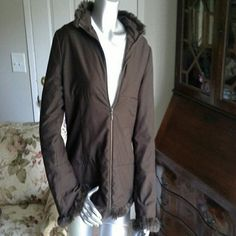 Hennes collection for h&m jacket Really cute and good condition chocolate brown, zippered fabric jacket with faux fur at the collar and cuffs. There is no pilling, discoloration or rips/tears.  One small zippered pocket on the front. H&M Jackets & Coats