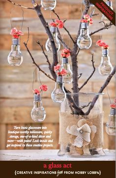 Hobby Lobby Project - A Glass Act - Crafty Glass **Not only bulb vase Bulb Flowers, Flower Vases, Vases Decor, Centerpieces, Wall Vases, Centerpiece Ideas, Diy Deco Rangement, Diys, Light Bulb Crafts