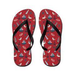 Red Nautical Flip Flops