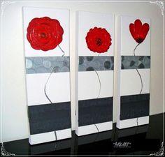 Tableau peinture tryptique rouge fleurs design pau-art