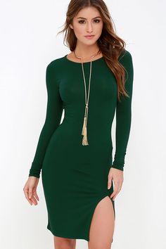 How I Wonder Dark Green Long Sleeve Midi Dress at Lulus.com!