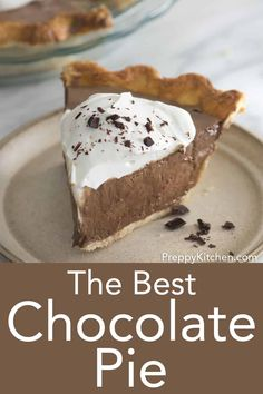 This is the ultimate chocolate pie from Preppy Kitchen; rich, silky, indulgent, and yet so light and dreamy that you'll have finished a piece in the blink of an eye. Easy Chocolate Pie, Chocolate Silk Pie, Chocolate Pie Recipes, Best Chocolate, Easy Summer Desserts, Desserts For A Crowd, Easy Desserts, Delicious Desserts, Dessert Recipes With Pictures