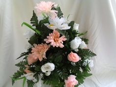 Peach and White Rose Cemetery Flower Arrangement by CrazyboutDeco, $29.99