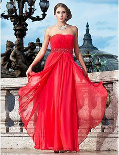Sheath/Column Strapless Floor-length Chiffon Evening Dress With Beading And Draping