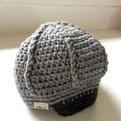 Gray with Black Brim Crochet Beanie Size Infant 0-6 Months by 2ofUM on Etsy
